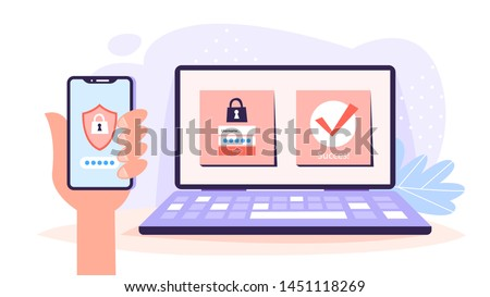 Two steps authentication, duo verification concept. Identification on computer through the smartphone. Approved authorization. Isolated vector illustration in cartoon style