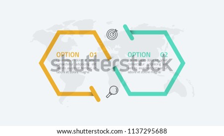 Two steps infographics number options template design with hexagon shapes, arrow. Vector illustration. Can be used for workflow diagram, banner, web design.