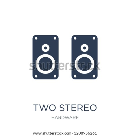 Two Stereo Speakers icon. Trendy flat vector Two Stereo Speakers icon on white background from hardware collection, vector illustration can be use for web and mobile, eps10