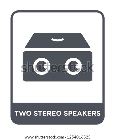 two stereo speakers icon vector on white background, two stereo speakers trendy filled icons from Hardware collection, two stereo speakers simple element illustration