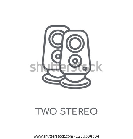 Two Stereo Speakers linear icon. Modern outline Two Stereo Speakers logo concept on white background from hardware collection. Suitable for use on web apps, mobile apps and print media.