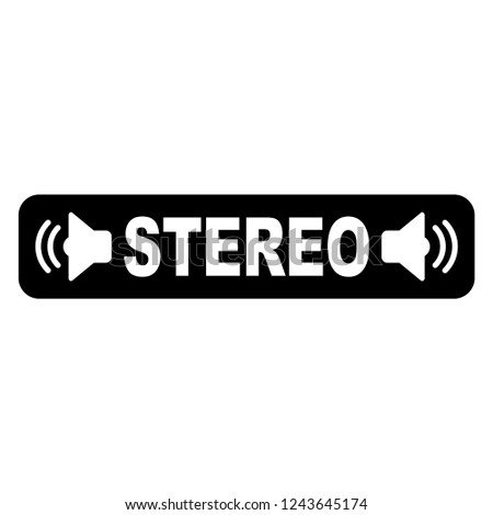Two Stereo Speakers transparent with stereo text