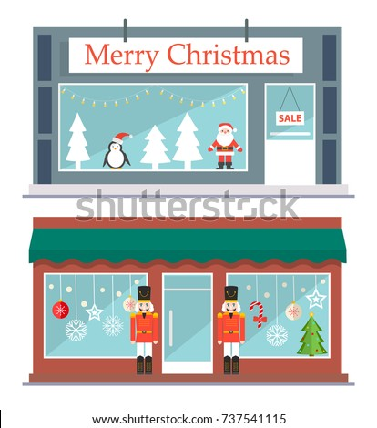 Two stores or shops set decorated to Christmas.  Store fronts with Christmas trees, snowflakes, Santa etc.