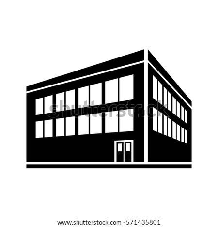 two-storey building icon vector