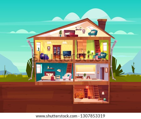 Two-storey cottage house cross section interior cartoon vector with spacious hall, fireplace in comfortable living room, bedroom on attic and wine cellar in basement illustration. Real estate concept Foto stock ©