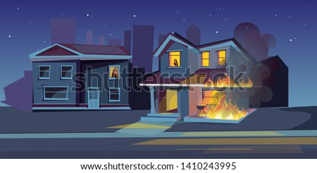 two storey house on fire vector