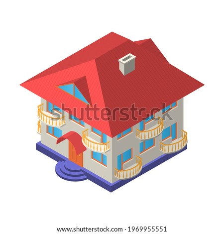 two storey house with an attic