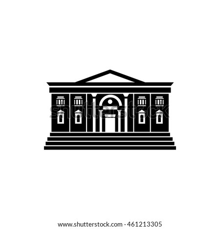 Two storey public building icon in simple style on a white background