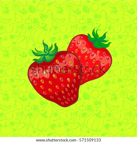 two strawberries on color