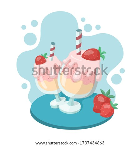 two strawberry milkshakes in