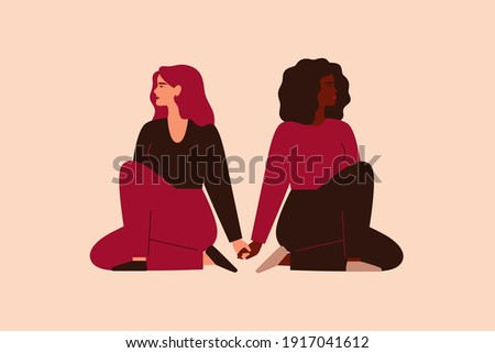 Two strong women sit together and hold arms. Fearless girls support and help each other. Friendship poster, the union of feminists and sisterhood. Vector illustration