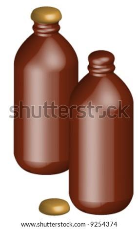 two stubby beer bottles - one with cap open - vector - stock vector