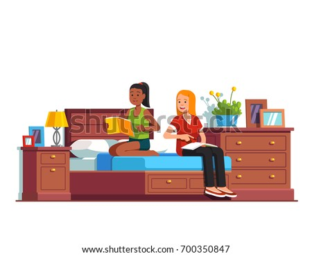 Two students preparing for exam reading textbooks together sitting on big double bed. Home studying sleepover. Friends sharing one bedroom. Flat style vector illustration isolated on white background.