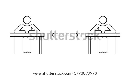 Two students studying in public library keeping social distance. Reopen college or university concept. New normal. Stick man line icon. Black outline on white background. Vector illustration, clip art