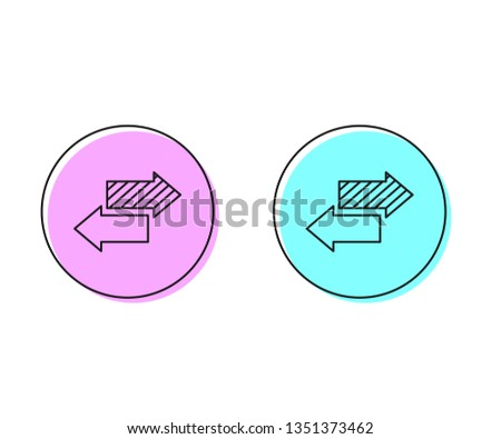 Two style illustration, pink and cyan Vector Arrow banners set. Up and down trend.