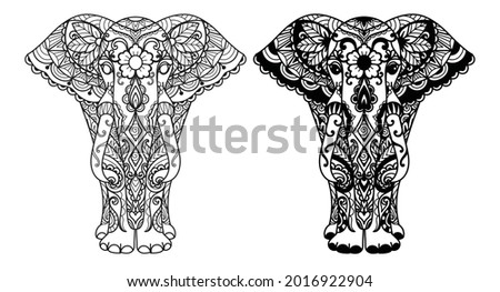 Two styles of mandala elephant for printing,engraving,coloring book and so on. Vector illustration. Stock photo ©