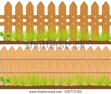 two styles of wooden fences, vector illustration