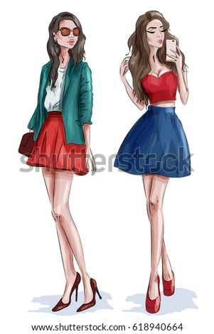 two stylish beautiful girls