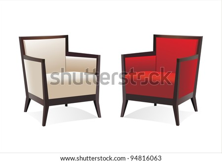 Two stylish contemporary chairs over white