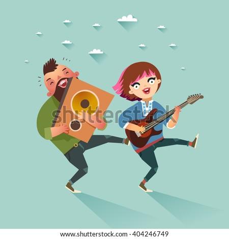 two stylish rock musicians