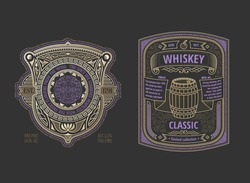 Two stylish vintage whiskey labels. Logo template design for alcohol bottle or can. Advertising place for text. Flourishes frame background