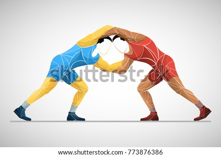 two stylized athlete sport