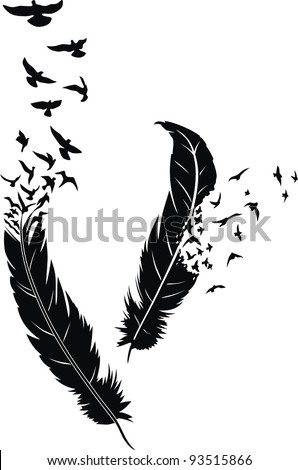 two stylized feathers with
