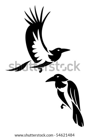 two stylized ravens
