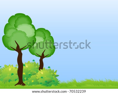 Two stylized tree with green bushes on the lawn under a blue sky