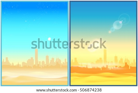 two stylized vector