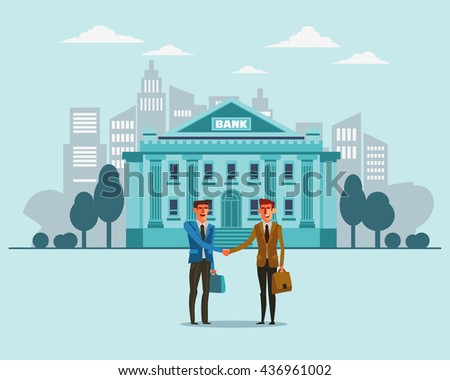 Two successful and smiling businessmen shake hands. Bank building in city street. Partnership, cooperation, international collaboration and teamwork in business concept. Modern design illustration
