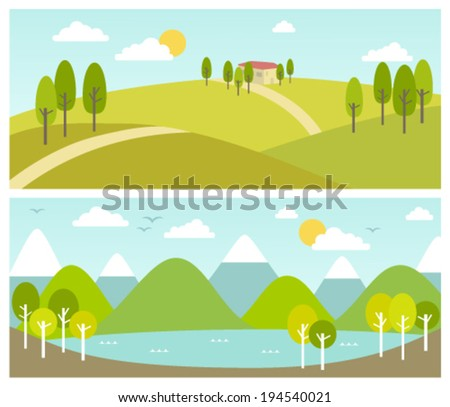 two summer landscape banners