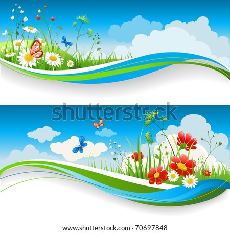 two  summer natural banners