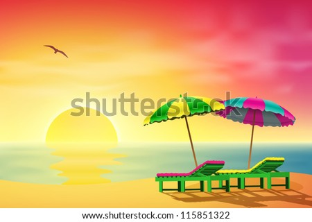 two sun loungers and parasols