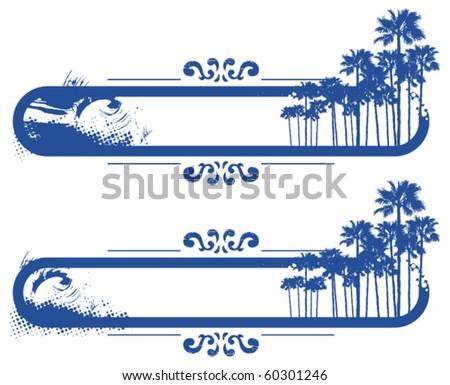 two surf blue grunge banner