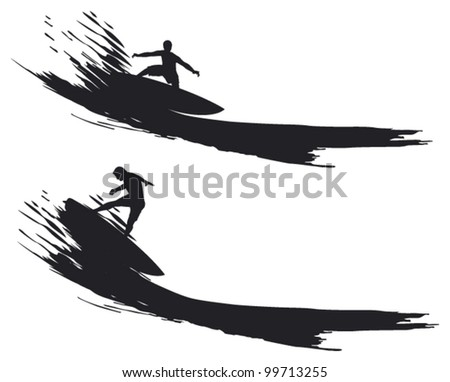 two surfer riding a wave