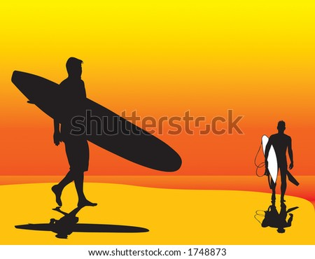 Two surfer silhouette vectors that can be resized to any size.