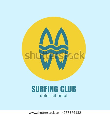 Two surfing boards silhouettes in yellow circle sun on blue background. Vector logo design template. Abstract flat design concept for surfing club, school, beach rest, summer water sport.