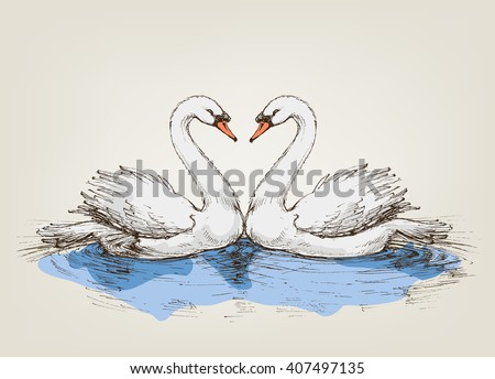 two swans on lake love symbol