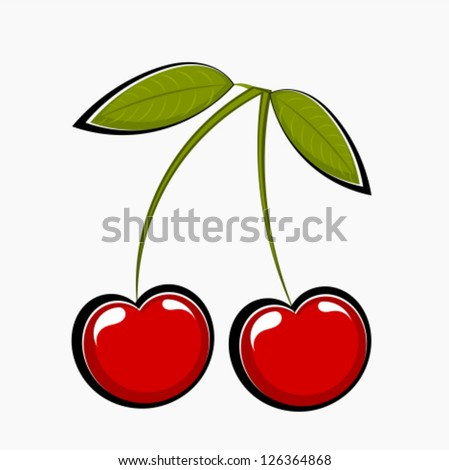 Two sweet cherries, vector illustration