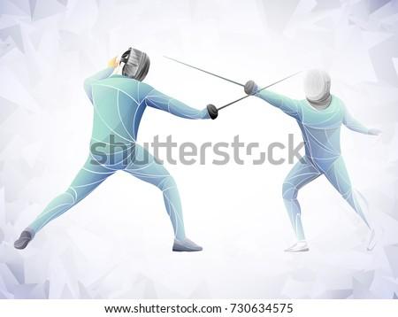 two swordsman, stylized fencing sport