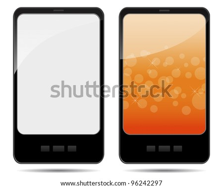 Two tablet pc with abstract background and blank. EPS 10. Vector illustration.