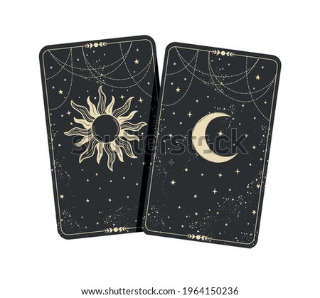 two tarot cards with moon and