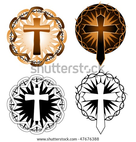 stock vector : Two tattoo inspired cross designs in color and black & white