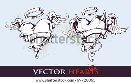 two tattoo styled hearts for