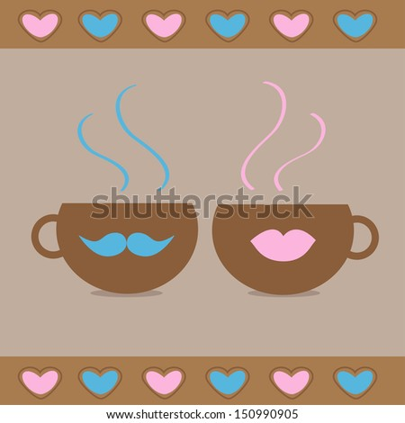 two teacups with mustache and