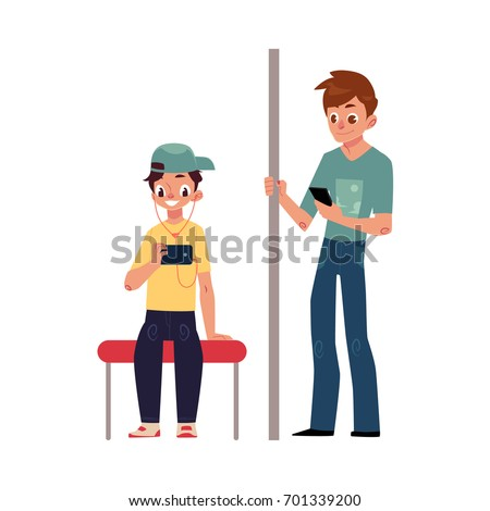 Two teenagers, boys sitting and standing in subway, using phone, smartphone, cartoon vector illustration isolated on white background. Full length portrait of two teenage boys using phones in subway