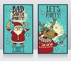two templates for party banner, cartoon santa and christmas deer with tequila and margarita in their hands, vector illustration