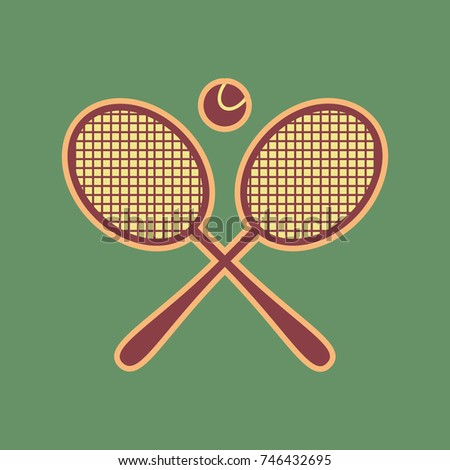 two tennis racket with ball