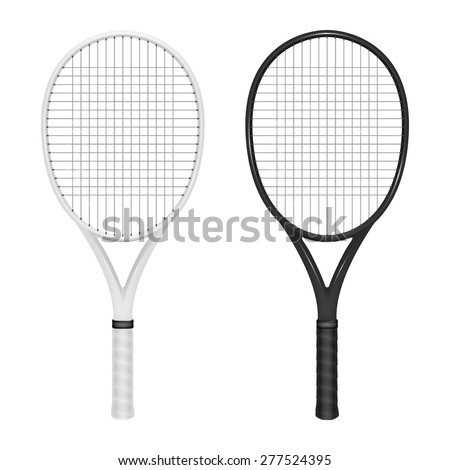 Two tennis rackets - white and black. Vector EPS10 illustration.